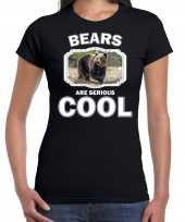 Dieren bruine beer t shirt zwart dames bears are cool shirt