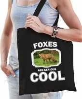 Dieren bruine vos tasje zwart volwassenen en kinderen foxes are cool cadeau boodschappentasje