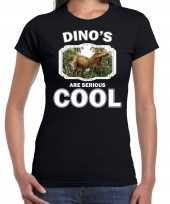 Dieren brullende t rex dinosaurus t shirt zwart dames dinosaurs are cool shirt