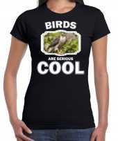 Dieren buizerd roofvogel t shirt zwart dames birds are cool shirt