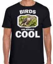 Dieren buizerd roofvogel t shirt zwart heren birds are cool shirt