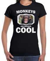 Dieren chimpansee t shirt zwart dames monkeys are cool shirt