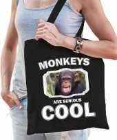 Dieren chimpansee tasje zwart volwassenen en kinderen monkeys are cool cadeau boodschappentasje