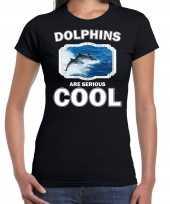 Dieren dolfijn groep t shirt zwart dames dolphins are cool shirt