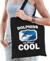 Dieren dolfijn groep tasje zwart volwassenen en kinderen dolphins are cool cadeau boodschappentasj
