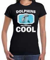 Dieren dolfijn t shirt zwart dames dolphins are cool shirt