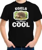 Dieren egel t shirt zwart kinderen egels are cool shirt jongens en meisjes
