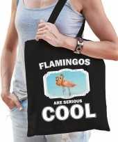 Dieren flamingo tasje zwart volwassenen en kinderen flamingos are cool cadeau boodschappentasje