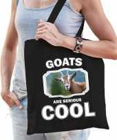 Dieren geit tasje zwart volwassenen en kinderen goats are cool cadeau boodschappentasje