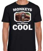 Dieren gekke orangoetan t shirt zwart heren monkeys are cool shirt
