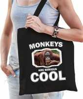 Dieren gekke orangoetan tasje zwart volwassenen en kinderen monkeys are cool cadeau boodschappent