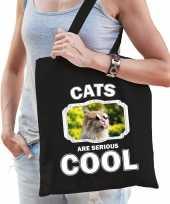 Dieren gekke poes tasje zwart volwassenen en kinderen cats are cool cadeau boodschappentasje