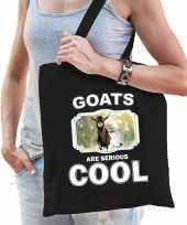 Dieren gevlekte geit tasje zwart volwassenen en kinderen goats are cool cadeau boodschappentasje