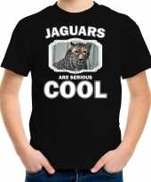Dieren gevlekte jaguar t shirt zwart kinderen jaguars are cool shirt jongens en meisjes