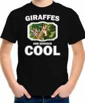 Dieren giraffe t shirt zwart kinderen giraffes are cool shirt jongens en meisjes