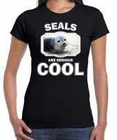 Dieren grijze zeehond t shirt zwart dames seals are cool shirt