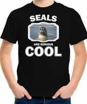 Dieren grijze zeehond t shirt zwart kinderen seals are cool shirt jongens en meisjes 10253619