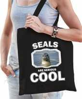 Dieren grijze zeehond tasje zwart volwassenen en kinderen seals are cool cadeau boodschappentasje 10253563