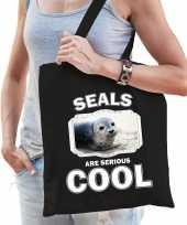 Dieren grijze zeehond tasje zwart volwassenen en kinderen seals are cool cadeau boodschappentasje