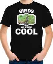 Dieren groene specht t shirt zwart kinderen birds are cool shirt jongens en meisjes
