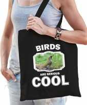 Dieren groene specht tasje zwart volwassenen en kinderen birds are cool cadeau boodschappentasje