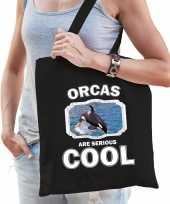Dieren grote orka tasje zwart volwassenen en kinderen orcas are cool cadeau boodschappentasje