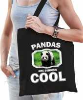 Dieren grote panda tasje zwart volwassenen en kinderen pandas are cool cadeau boodschappentasje