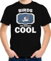 Dieren grote zilverreiger t shirt zwart kinderen birds are cool shirt jongens en meisjes