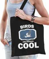 Dieren grote zilverreiger tasje zwart volwassenen en kinderen birds are cool cadeau boodschappenta