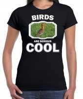 Dieren grutto vogel t shirt zwart dames birds are cool shirt