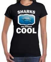Dieren haai t shirt zwart dames sharks are cool shirt