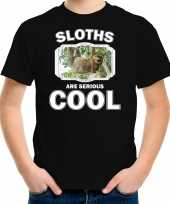 Dieren hangende luiaard t shirt zwart kinderen sloths are cool shirt jongens en meisjes