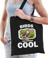 Dieren havik roofvogel tasje zwart volwassenen en kinderen birds are cool cadeau boodschappentas