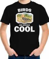 Dieren hop vogel t shirt zwart kinderen birds are cool shirt jongens en meisjes