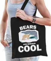 Dieren ijsbeer tasje zwart volwassenen en kinderen bears are cool cadeau boodschappentasje