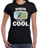 Dieren ijsvogel t shirt zwart dames birds are cool shirt