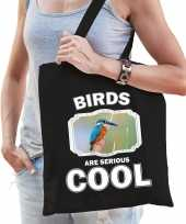 Dieren ijsvogel tasje zwart volwassenen en kinderen birds are cool cadeau boodschappentasje
