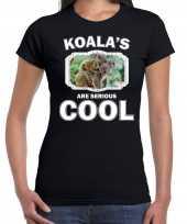 Dieren koala t shirt zwart dames koalas are cool shirt