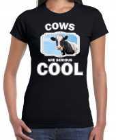 Dieren koe t shirt zwart dames cows are cool shirt