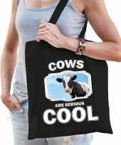 Dieren koe tasje zwart volwassenen en kinderen cows are cool cadeau boodschappentasje