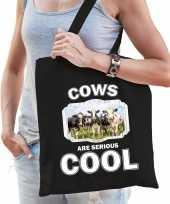 Dieren kudde koeien tasje zwart volwassenen en kinderen cows are cool cadeau boodschappentasje
