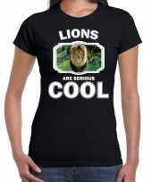 Dieren leeuw t shirt zwart dames lions are cool shirt