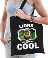 Dieren leeuw tasje zwart volwassenen en kinderen lions are cool cadeau boodschappentasje