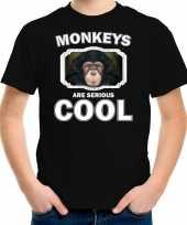 Dieren leuke chimpansee t shirt zwart kinderen monkeys are cool shirt jongens en meisjes