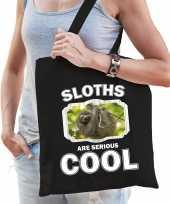 Dieren luiaard tasje zwart volwassenen en kinderen sloths are cool cadeau boodschappentasje