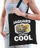 Dieren luipaard tasje zwart volwassenen en kinderen jaguars are cool cadeau boodschappentasje