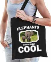 Dieren olifant tasje zwart volwassenen en kinderen elephants are cool cadeau boodschappentasje
