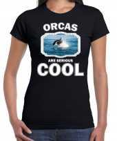 Dieren orka t shirt zwart dames orcas are cool shirt