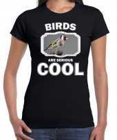 Dieren putter vogel t shirt zwart dames birds are cool shirt