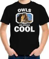 Dieren ransuil t shirt zwart kinderen owls are cool shirt jongens en meisjes